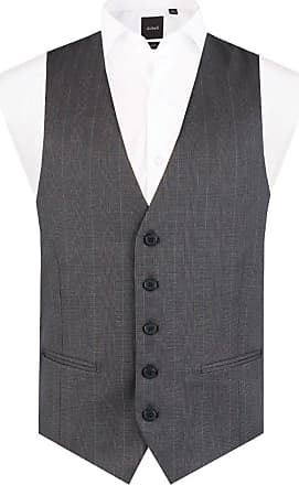 Dobell Mens Charcoal Prince of Wales Check Waistcoat Slim Fit 5 Button-XL (46-48in)