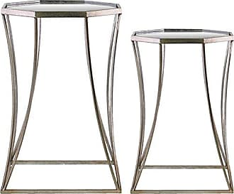 Urban Trends Collection Urban Trends Octagonal Table with Beveled Mirror Top Metal Finish (Set of 2), Orange