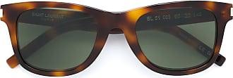 Saint Laurent Eyewear Óculos de sol retangular em acetato - Marrom