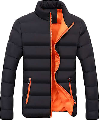 Yonglan Mens Transitional Jacket Classic Casual Lightweight Mix Standing Collar Quilted Jacket Orange 3XL