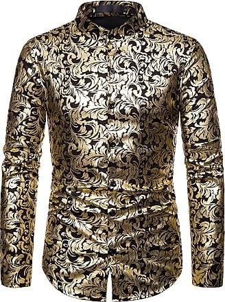 Whatlees Mens Hipster Gold Flowers Floral Printed Baroque Slim Fit Long Sleeve Dress Shirt Black 02010192XBlack+S