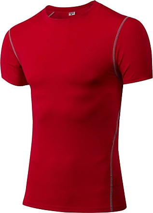 YiJee Mens Compression Quick Dry Elastic Athletic Short Sleeve T Shirt Red M