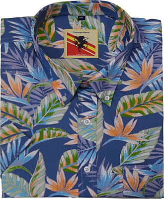 Espionage Mens Blue All Over Print Short Sleeved Shirt (197) in 5XL (Chest 64-66 INCHES)