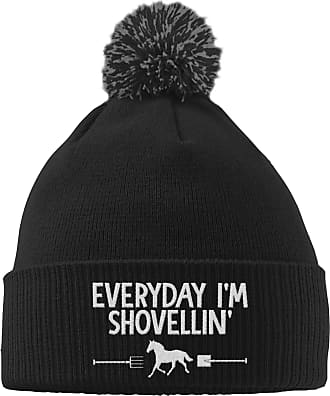 HippoWarehouse Everyday Im Shovellin Embroidered Beanie Hat with Bobble Black