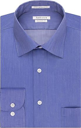 Van Heusen mens20F6000Herringbone Regular Fit Solid Spread Collar Dress Shirt Spread Collar Long Sleeves Dress Shirt - Blue - 17.5 Neck 32-33 Sleeve