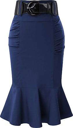 Belle Poque Retro Ladies Plain High Waist Fishtail Hem Tea Skirts for Party with Belt Navy Blue(627-4) Large