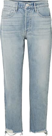 3x1 W3 Higher Ground Cropped Frayed High-rise Straight-leg Jeans - Light denim