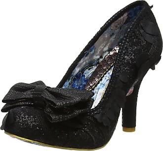 Irregular Choice Womens Mal E Bow Closed-Toe Heels, Black (Black Hessian), 5 UK 38 EU