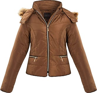 Shelikes Womens Ladies Quilted Padded Zip Up Faux Fur Hood Hooded Jacket Coat[Olive L]