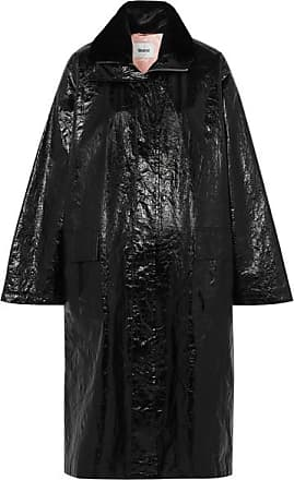 STAND Maia Crinkled Glossed Faux Leather Coat - Black