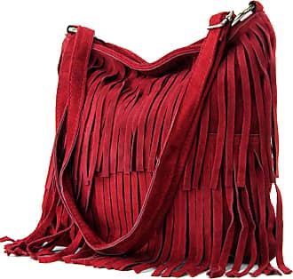 modamoda.de Ital. Leather bag Shoulderbag Shoulder bag Ladiesbag Wild leather T125, Colour:Dark red