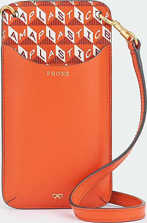 Anya Hindmarch I Am A Plastic Bag Phone Pouch on Strap Recycled Coated Canvas in Clementine