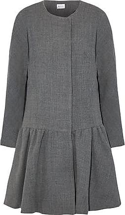 Milly Milly Woman Fluted Wool-blend Twill Coat Gray Size XS