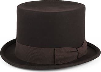 Hat To Socks Wool Top Hat with Grosgrain Band Handmade in Italy (Brown, M (56/57 cm))