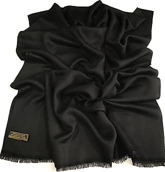 CJ Apparel Black Fringe Solid Colour Design Nepalese Shawl Scarf Wrap Stole Throw Pashmina CJ Apparel NEW