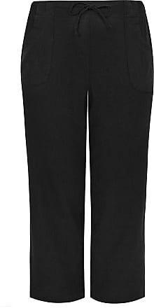 Yours Clothing Clothing Womens Linen Mix Wide Leg Trousers Size 30-32 Black