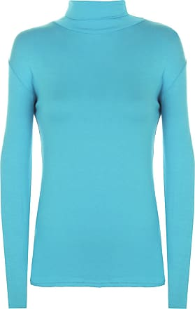 WearAll New Ladies Polo Neck Stretch Long Sleeve Womens Plain Top Jumper Turquoise 12/14