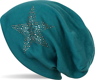styleBREAKER Beanie hat with Rhinestone Rivets Star and Silver-Anthracite Coloured Decorative Stones, Slouchy Long Beanie, Unisex 04024087, Colour:Petrol