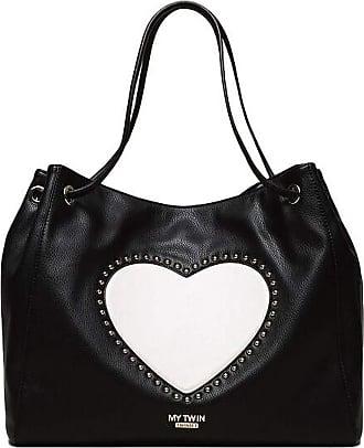 Twin-Set Twin Set my twin hobo bag with heart and studs 201MA7093 black/vanilla white