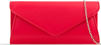 LeahWard Womens Faux Leather Clutch Bags Wedding Flap Handbags 490H (Red)