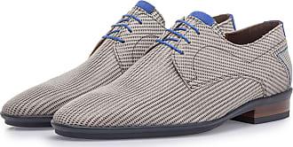 Floris Van Bommel Beigefarbener Wildleder-Schnürschuh mit Print, Business Schuhe, Handgefertigt
