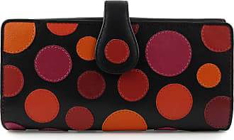 Visconti Ladies Leather Polka Large Flap Over Purse/Wallet Gift Box Coin (Very Berry)