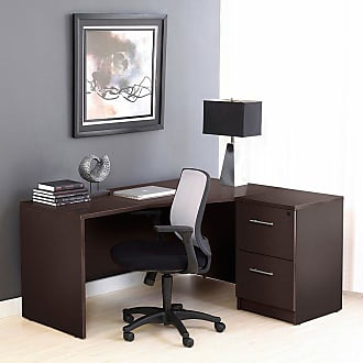 Unique Furniture 100 Collection Corner L-Shaped Desk with Filing Cabinet Espresso - 1C100005RES