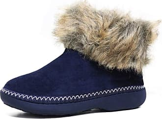 Footwear Studio New Ladies Warm Lined Outdoor Sole Slipper Boots Slippers Boot Size 3 4 5 6 7 8 (7/8 UK, Navy.)