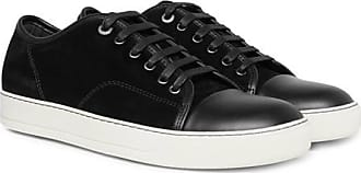 9b875f44666 Lanvin Cap-toe Suede And Leather Sneakers - Black