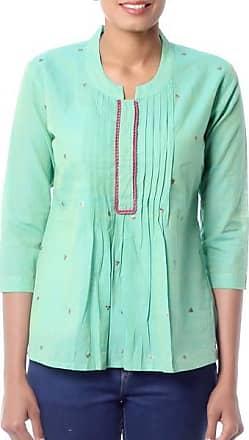 Novica Cotton blouse, Lemon Lime - Handwoven Cotton Embroidered Blouse Top