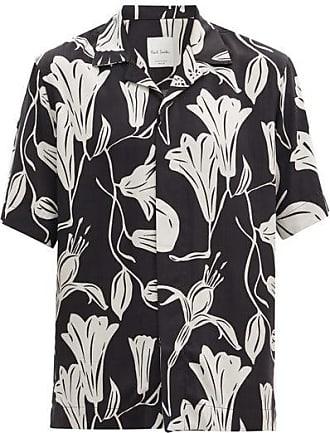 Paul Smith Cuban-collar Floral-print Fluid-poplin Shirt - Mens - Black White