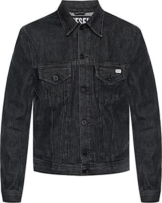 Diesel Denim Jacket With Pockets Mens Black
