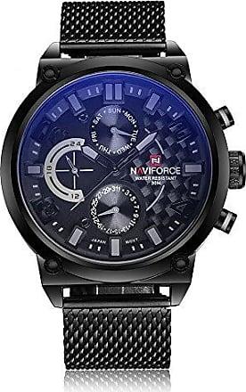 NAVIFORCE Relógio Masculino Naviforce 9068 BGYB Pulseira em Aço - Preto e Cinza