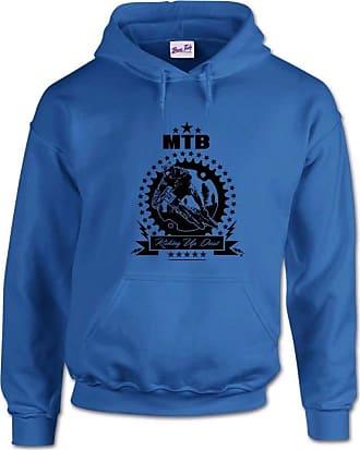 Bang Tidy Clothing Kicking Up Dust Mountain Biking MTB Mens Hoodie-Royal Blue-M