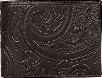 Etro Paisley Print Leather Wallet, Man, Brown