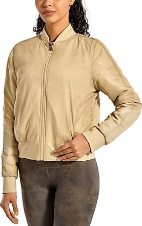 CRZ YOGA Womens Winter Coats Full Zip Lightweight Warm Packable Jacket Outerwear with Pockets Sandy Beige 10
