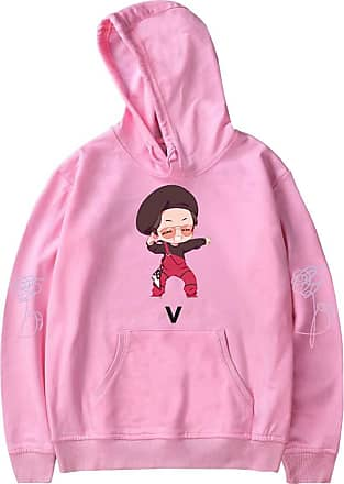 OLIPHEE BTS Women Hoodies Cartoon Cute BTS New Album K-Pop Bangtan Boys Printed Love Yourself Suga Jimin Jung Kook J-Hope Rap-Monster Pullover Hip Pop Cool Sw