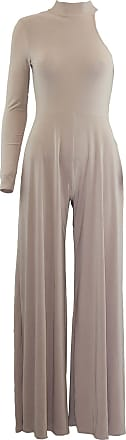 Be Jealous Oops Womens Ladies One Shoulder Turtle Neck Flared Leg Palazzo All in One Jumpsuit