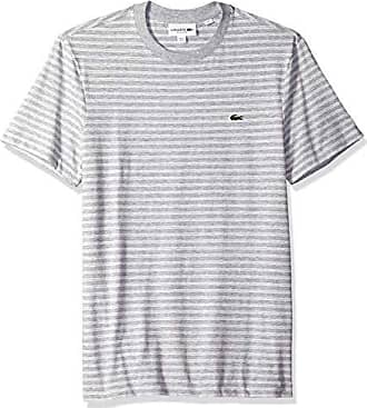 35e65456 Lacoste Mens Short Sleeve REG FIT Striped Jersey TEE, PLUVIER Chine/Flour,  XXX