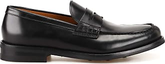 Doucal's Black Leather Loafers, 44.5