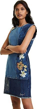 Desigual Vestido Jeans Desigual Curto Floral Azul