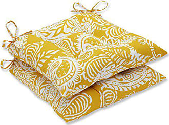Pillow Perfect Outdoor | Indoor Addie Egg Yolk Wrought Iron Seat Cushion (Set of 2, 2 Piece