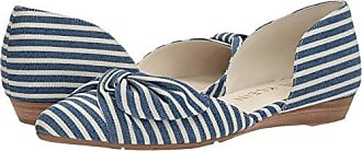 Anne Klein Womens Bette Ballet Flat, Navy/White, 6 M US
