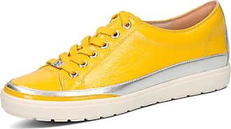 Caprice 23654 Lemon Yellow Patent Leather Womens Lace Up Casual Trainers 4