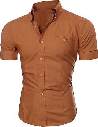 FNKDOR Summer Men Office Bussiness Party Dating Formal Business Stylish Slim Fit Short Sleeve Casual Shirt(Brown,UK-38/CN-XL)