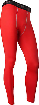 YiJee Mens Flexible Tights Pants Quick Dry Fitness Running Compression Red XL