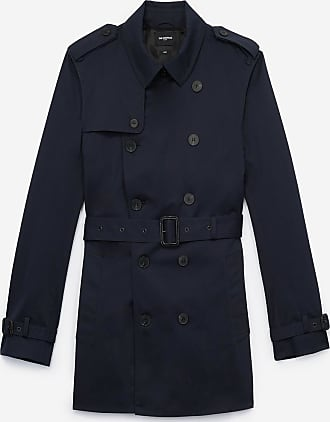The Kooples Cropped, navy blue cotton trench coat with belt - MEN