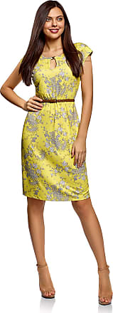 oodji Collection Womens Belted Jersey Dress, Yellow, UK 4 / EU 34 / XXS