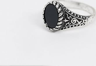 Reclaimed Vintage inspired ring with engraved detail and stone-Silver