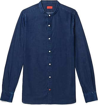 Isaia Slim-fit Grandad-collar Cotton-chambray Shirt - Blue